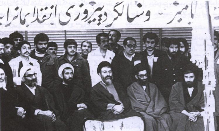آقایان احمد خمینی، خامنهای، بهشتی، باهنر و موسوی اردبیلی در بیمارستان رجایی تهران، مراسم تنفیذ حکم بنیصدر، اس
